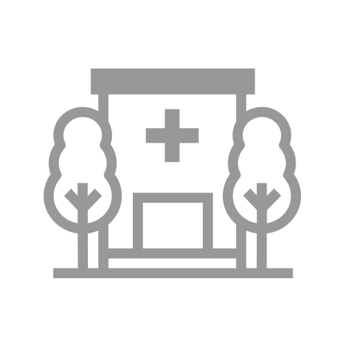 Gray hospital with 2 trees icon