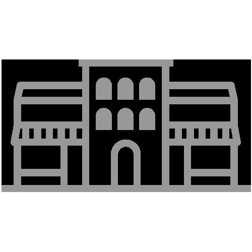 Gray industrial building icon