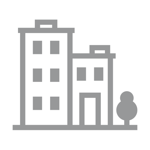 Gray apartments and tree icon